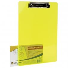Доска-планшет BRAUBERG 'Energy', с верхним прижимом, А4, 22,6х31,5 см, пластик, 2 мм, неоновый желтый, 232231