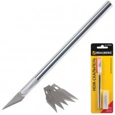 Нож макетный скальпель BRAUBERG, металлический корпус, + 5 запасных лезвий, блистер, 235405