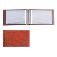 Визитница однорядная на 28 визитных, дисконтных или кредитных карт, коричневая, 2054-104