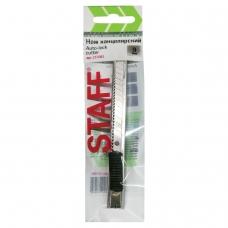 Нож универсальный 9 мм STAFF, усиленный, металлический корпус, автофиксатор, клип, 237081