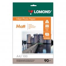 Фотобумага LOMOND для струйной печати, A4, 90 г/м2, 100 л., односторонняя матовая, 0102001