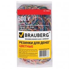Резинки банковские универсальные, BRAUBERG 500 г, диаметр 60 мм, цветные, натуральный каучук, 440050
