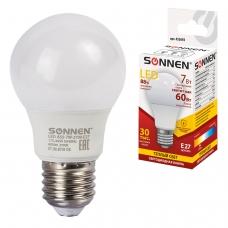Лампа светодиодная SONNEN, 7 60 Вт, цоколь E27, грушевидная, теплый белый свет, LED A55-7W-2700-E27, 453693
