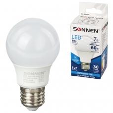 Лампа светодиодная SONNEN, 7 60 Вт, цоколь Е27, грушевидная, холодный белый свет, LED A55-7W-4000-E27, 453694