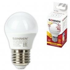 Лампа светодиодная SONNEN, 5 40 Вт, цоколь E27, шар, теплый белый свет, LED G45-5W-2700-E27, 453699