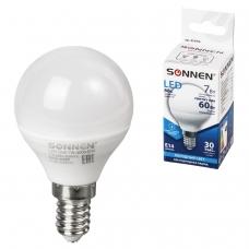 Лампа светодиодная SONNEN, 7 60 Вт, цоколь Е14, шар, холодный белый свет, LED G45-7W-4000-E14, 453706