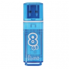 Флэш-диск 8 GB, SMARTBUY Glossy, USB 2.0, синий, SB8GBGS-B