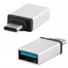 Переходник USB-TypeC RED LINE, F-M, для подключения портативных устройств, OTG, серый, УТ000012622