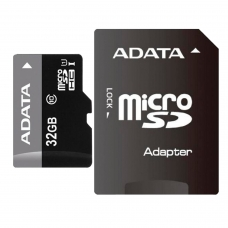 Карта памяти micro SDHC, 32 GB, A-DATA Premier, 50 Мб/сек. class 10, с адаптером, AUSDH32GUICL10