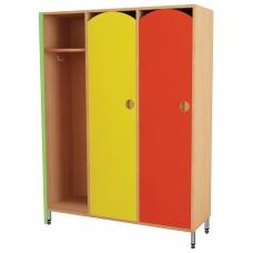 Шкаф для одежды детский, 3 отделения, 1080х340х1340 мм, бук бавария/цветной фасад