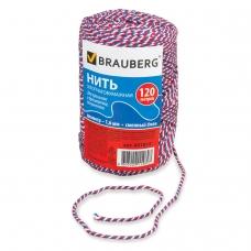 Нить хлопчатобумажная для прошивки документов BRAUBERG, диаметр 1,6 мм, длина 120 м, сменный блок, 'ТРИКОЛОР', 601814
