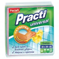 Салфетки универсальные, комплект 3 шт., 38х38 см, PACLAN 'Practi', нетканое полотно, 410018