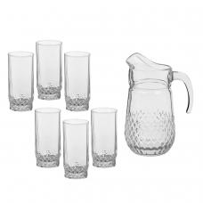 Набор столовый, 7 предметов, кувшин 1250 мл + 6 стаканов 275 мл, стекло, 'Valse', PASABAHCE, 97675
