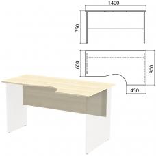 Столешница, царга стола эргономичного 'Канц' 1400х800х750 мм, правый, цвет дуб молочный, СК30.15.1