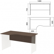 Столешница, царга стола эргономичного 'Канц' 1400х800х750 мм, левый, цвет венге, СК36.16.1