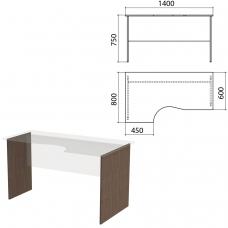 Опоры к столам эргономичным 'Канц' 1400х800х750 мм, левый/правый, цвет венге, СК30.16.2
