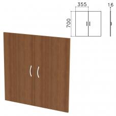 Дверь ЛДСП низкая 'Бюджет', КОМПЛЕКТ 2шт, ш355*г16*в700 мм, орех французский, 402879-190